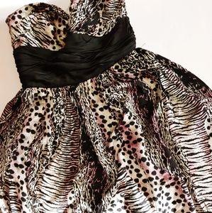Betsey Johnson Strapless Animal Print Silk Dress 4